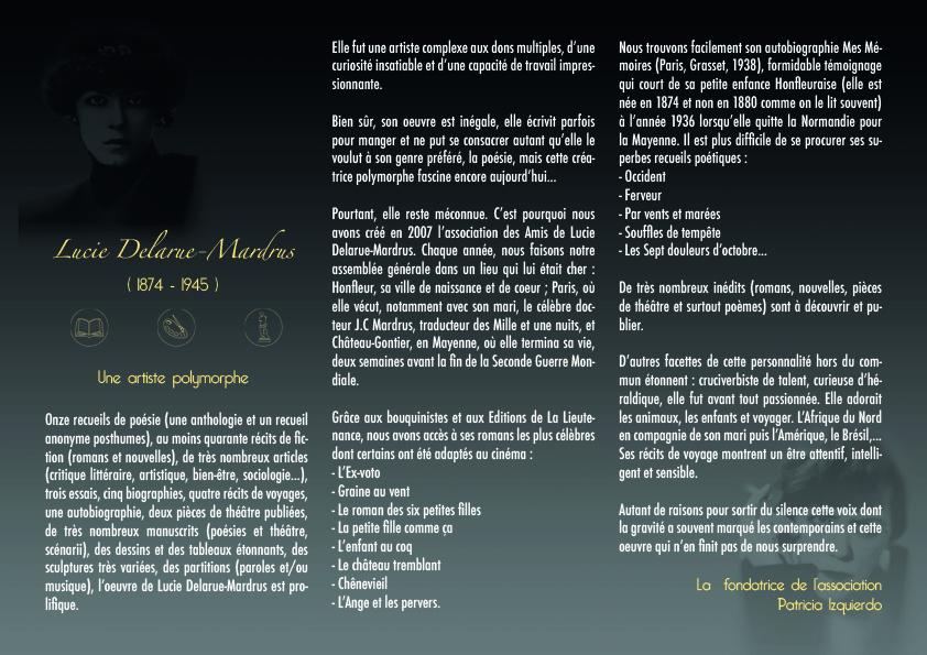 Brochure associative les amis de Lucie Delarue-Mardrus